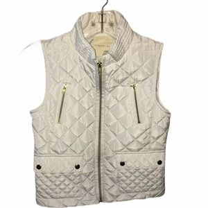 Copper Key White Quilted Full Zip Girls  Vest